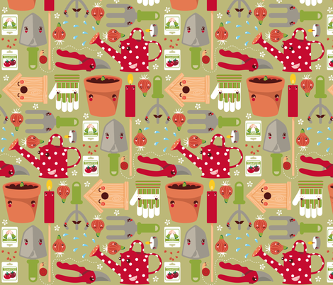 Garden design fabric by verycherry on Spoonflower - custom fabric