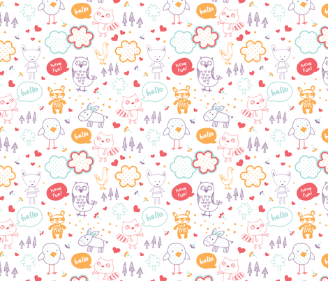 everyone say hello! fabric by minkypnoo on Spoonflower - custom fabric