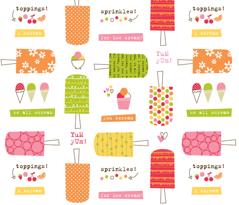 scream for ice cream fabric by amel24 on Spoonflower - custom fabric