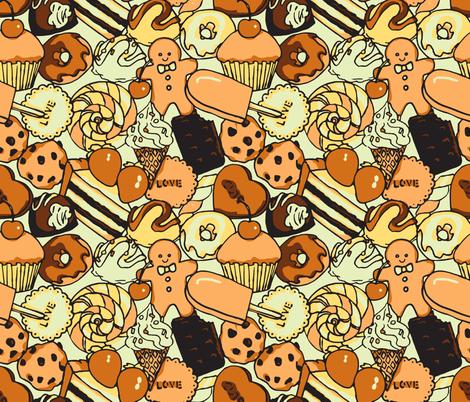 Sugar Galore (Sepia) fabric by shirayukin on Spoonflower - custom fabric