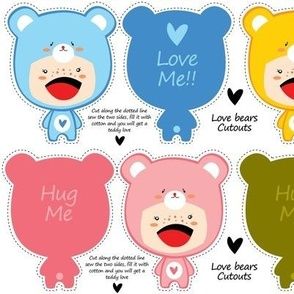 KAWAII TEDDY BEARS CUT-OUT