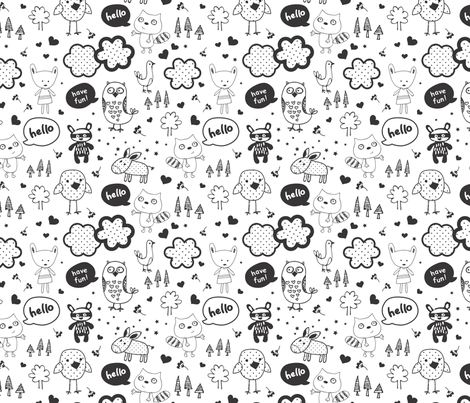 everybody says hello black fabric by michelepayne on Spoonflower - custom fabric