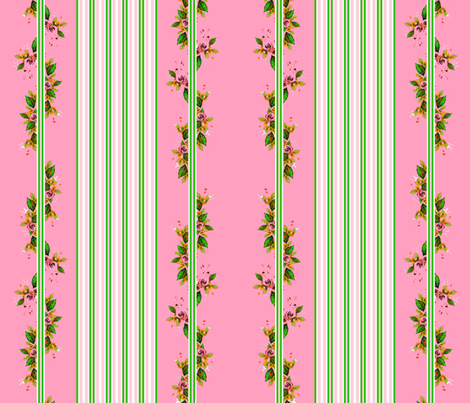 Roses stripes and vines fabric by joanmclemore on Spoonflower - custom fabric