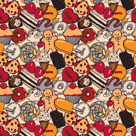 Sugar Galore (Red) fabric by shirayukin on Spoonflower - custom fabric