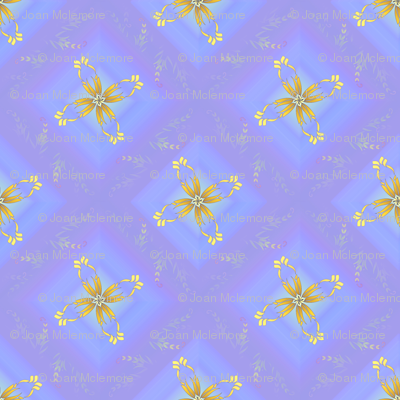 Blue diamond floral