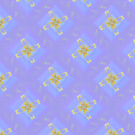 Blue diamond floral fabric by joanmclemore on Spoonflower - custom fabric
