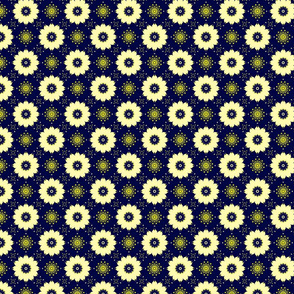 Ivory Flowers on Dark Blue