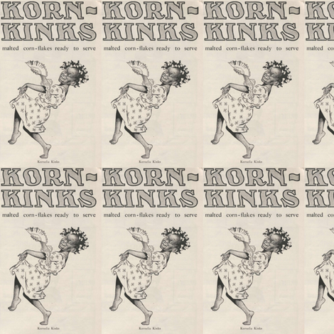 1907 Korn Kinks cereal advertisement (warning: racist content) fabric by edsel2084 on Spoonflower - custom fabric