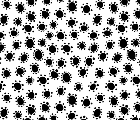 Spanish_Floral_Dots2_WHITEBLACK fabric by fuzzyskyfabric on Spoonflower - custom fabric