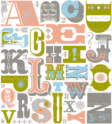 Woodtype Alphabet (Gray) || letterpress wood type typography western circus alphabet