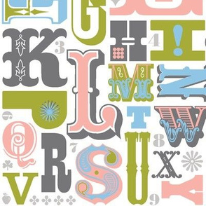 Woodtype Alphabet* (Gray & Green)