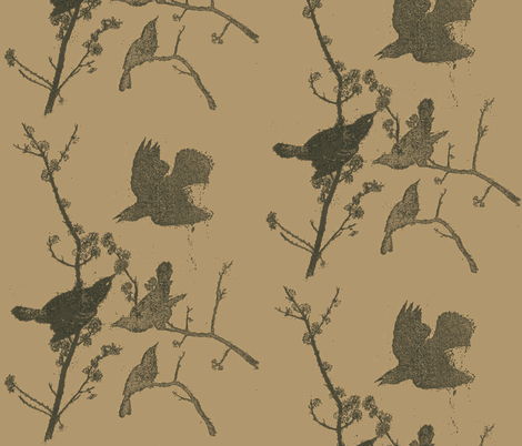 Blackbirds on Tabacco fabric by retrofiedshop on Spoonflower - custom fabric