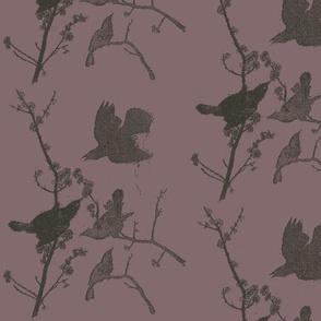Blackbirds on Purple