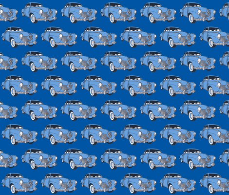 1951 bulletnose Studebaker light on medium blue fabric by edsel2084 on Spoonflower - custom fabric
