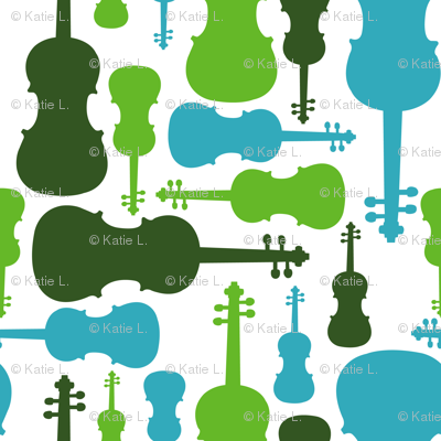 Violins - green and blue
