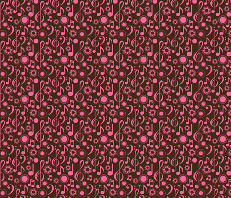 Notes and Clefs - pink and brown fabric by marchingbandstuff on Spoonflower - custom fabric