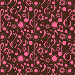 Notes and Clefs - pink and brown