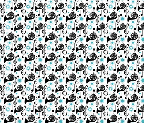 Horn Notes in blue and black fabric by marchingbandstuff on Spoonflower - custom fabric
