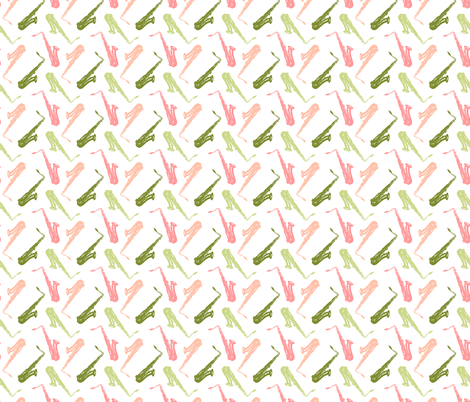 Pastel Saxophones fabric by marchingbandstuff on Spoonflower - custom fabric