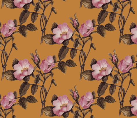 Charlotte Bronte's Wild Roses on Gold fabric by peacoquettedesigns on Spoonflower - custom fabric