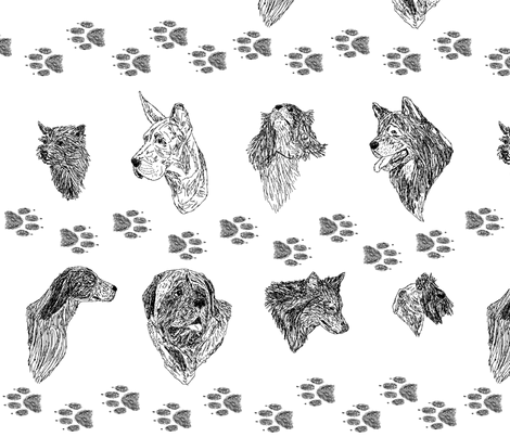 Black and White Dog Protrait Sketches fabric by rusticcorgi on Spoonflower - custom fabric