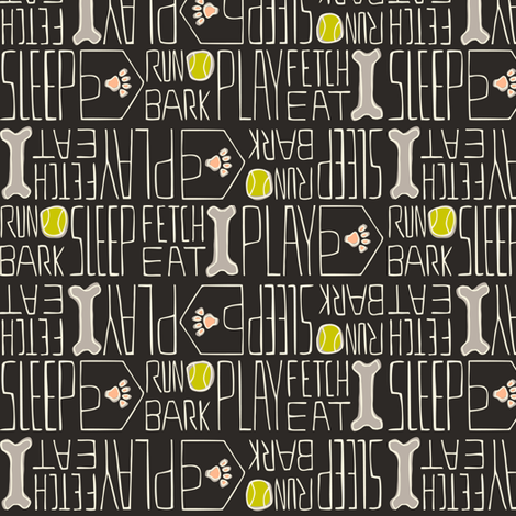 Dog's Life - Pets Black, Green, Pink fabric by heatherdutton on Spoonflower - custom fabric