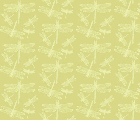 Dragonflies on Green fabric by retrofiedshop on Spoonflower - custom fabric