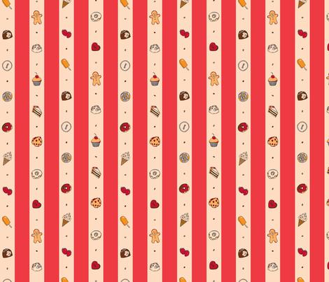 Saccharose Stripe (Red) fabric by shirayukin on Spoonflower - custom fabric