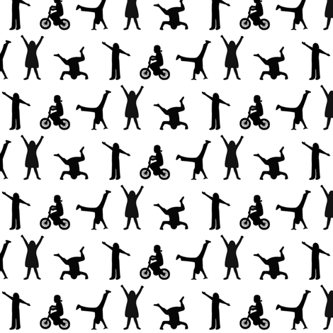 Play Time Silhouettes- Small  fabric by mayabella on Spoonflower - custom fabric