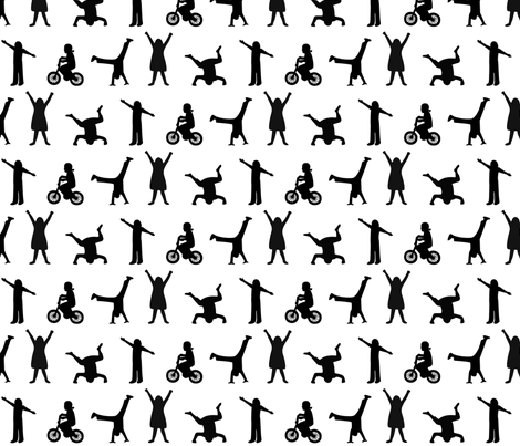 Playtime Silhouettes- Large fabric by mayabella on Spoonflower - custom fabric