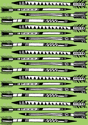 arrows fabric in green