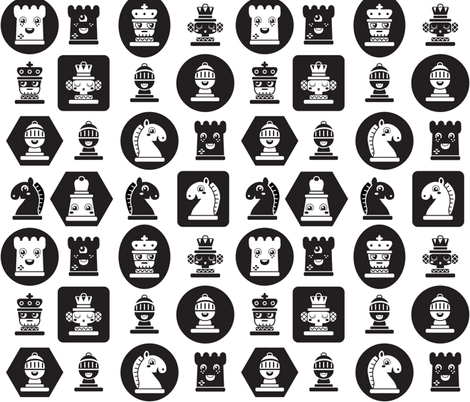 Chess in white fabric by irrimiri on Spoonflower - custom fabric