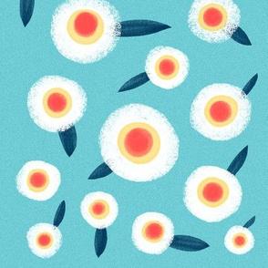 Blue Fabric white flowers