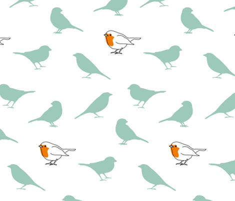 A redbreast among sparrows (white) fabric by mariao on Spoonflower - custom fabric