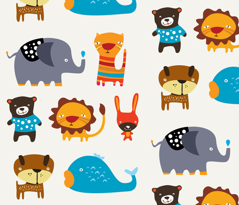 Animals Large fabric by suryasajnani on Spoonflower - custom fabric