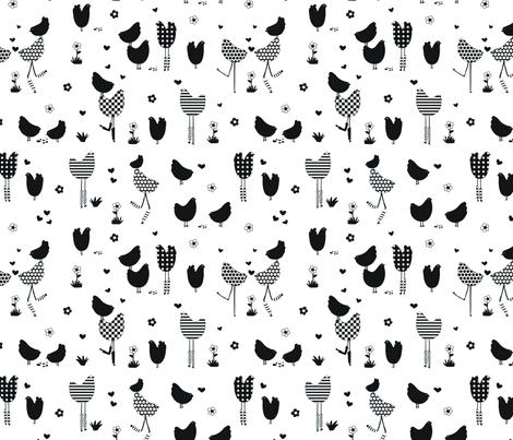 BWchickens! fabric by abby_zweifel on Spoonflower - custom fabric