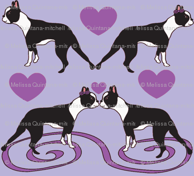 Kissing Bostons in lavender