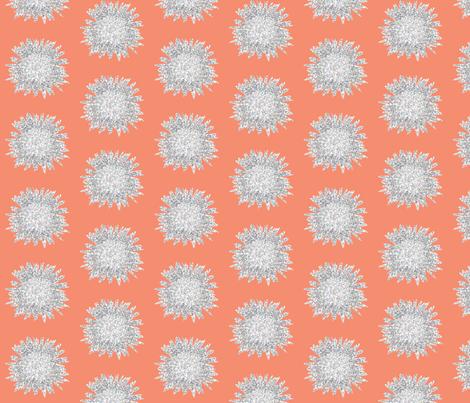 POINTALLISM DAISY summer melon fabric by heatherrothstyle on Spoonflower - custom fabric