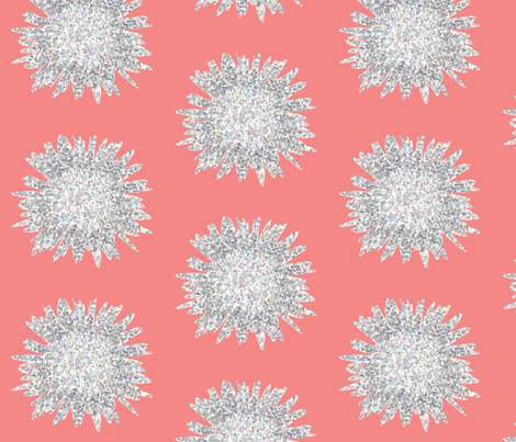 POINTALLISM DAISY summer pink fabric by heatherrothstyle on Spoonflower - custom fabric