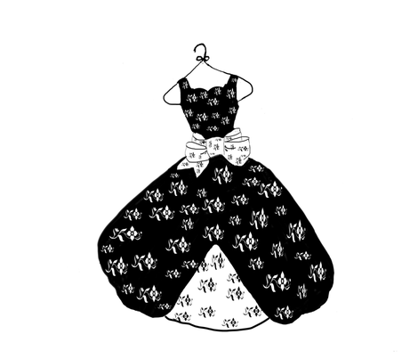 Black and white dress large print fabric by karenharveycox on Spoonflower - custom fabric