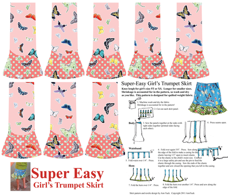 Super Easy Girl's Trumpet Skirt - Quilting weight only. Watermelon Pink fabric by anntuck on Spoonflower - custom fabric
