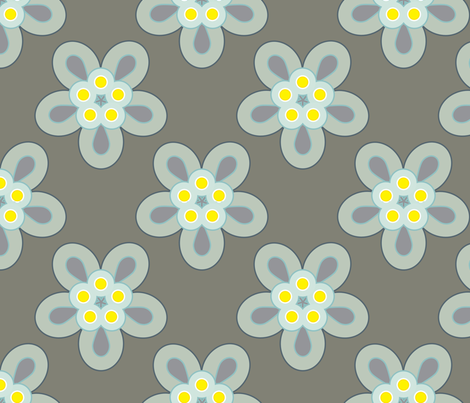 Geometric Flowers - Gray fabric by anntuck on Spoonflower - custom fabric