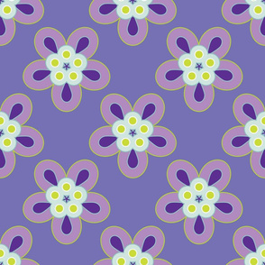 Geometric Flowers - Purple