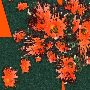 Gum tree flowers (orange on bottle green) by Su_G