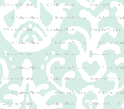 Mint/white Ikat