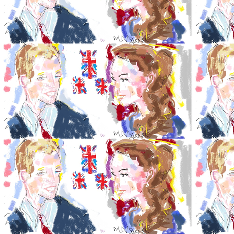 prince_william_and_kate_middleton_during_engagement____april_2011_sketched_on_april27__2011 fabric by mailyn on Spoonflower - custom fabric