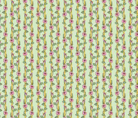 Hibiscus Stripes - Green fabric by siya on Spoonflower - custom fabric