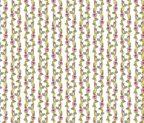 Hibiscus Stripes - White fabric by siya on Spoonflower - custom fabric