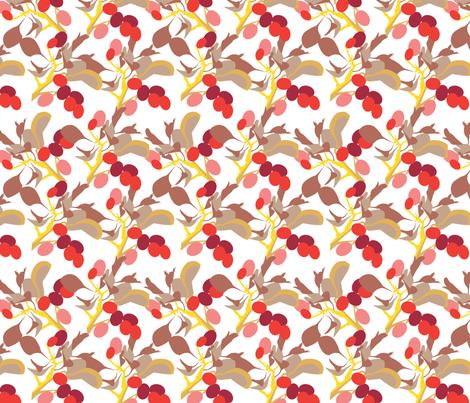 POINTALLISM TWIG summer red fabric by heatherrothstyle on Spoonflower - custom fabric