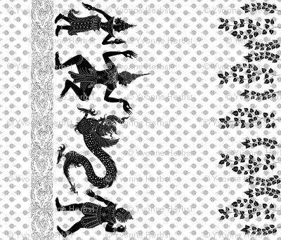 Thai Shadow, border print view in whole yardage